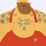 Mighty men�s chest with tattoos Stock Photos