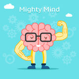 Mighty mind concept. Brain with great creative. Potential. Energy muscle, athletic intelligence organ, vector illustration royalty free illustration