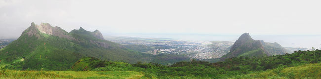 Mighty mountains panoramic view. Panorama from Le Pouce Mountain, Saint Pierre, Mauritius Royalty Free Stock Photos