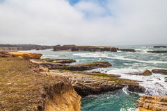 The Mighty Pacific Ocean. View of the Pacific Ocean on the Mendocino Coastline from highway 1. A beautiful emerald turquoise water with serene waves hitting the Stock Photography
