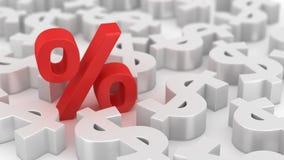 Mighty percent of dollars Stock Photos