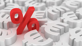 Mighty percent of euros Stock Photography