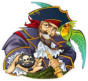 Mighty pirate. Cartoon pirate with his parrot pet Royalty Free Stock Photo