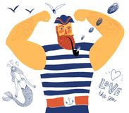 Mighty pirate. The mighty cartoon sailor with tobacco pipe Royalty Free Stock Photography