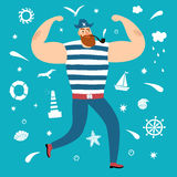 Mighty pirate with decorative elements Stock Photos