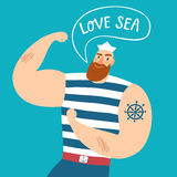 Mighty pirate sailor with speech bubble Royalty Free Stock Image