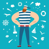 Mighty sailor with decorative elements on background Stock Photography