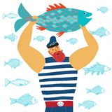 Mighty sailor fisherman. The mighty cartoon sailor with big fish on white background Stock Photography