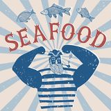 Mighty sailor fisherman. The mighty cartoon sailor with pipe on old grungy background. Poster for seafood Stock Images