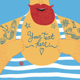Mighty seaman�s chest  with tattoos Royalty Free Stock Photography