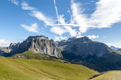 The mighty Sella. Probably the most famous peak of the Western Dolomites, the Sella Massif is theatre to a wide variety of winter and summe sports Royalty Free Stock Photography