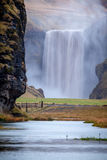Mighty Skogafoss. The enormous waterfall of Skogafoss in southern Iceland Royalty Free Stock Photos