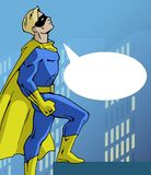 Mighty superhero. Illustration of a mighty standing superhero in a bright costume Stock Photo