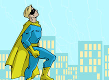 Mighty superhero. Illustration of a mighty standing superhero in a bright costume Royalty Free Stock Images