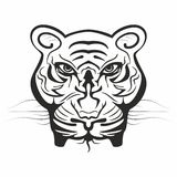 Mighty tiger face in black and white Royalty Free Stock Image