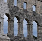 Coliseum.Pula.Croatia.Ruins of ancient amphitheater. The mighty walls of ancient architecture.the ruins of the amphitheater attracts many tourists royalty free stock images