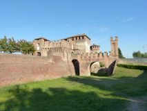 The mighty walls of the medieval Castle of Soncino - Cremona - I. View of the medieval castle of Soncino in the province of Cremona - Italy Stock Photos