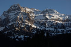 The Mighty Wildstrubel in Switzerland. A view of the Wildstrubel mountain south of Lenk, Switzerland.  This mountain at over 3200 meters is the main feature of Stock Photography