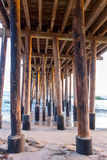 Mighty Wooden Pylons of Ventura Pier, CA Stock Image