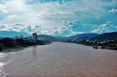 The mighty yellow river crossing a town or city somewhere at china. East asia royalty free stock image