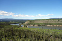 The mighty yukon river in the springtime Stock Photo