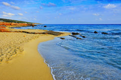 Migjorn海滩在Formentera,巴利阿里群岛,西班牙 免版税库存照片