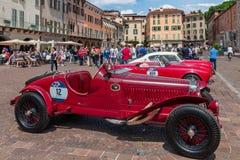 Miglia 1000 2017, Bríxia - Itália 17 de maio de 2017: A raça de carro histórica de Mille Miglia imagens de stock
