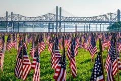 Migliaia di bandiere americane Fotografia Stock