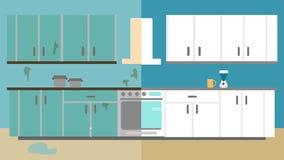 Miglioramento della cucina prima e dopo la riparazione Rinnovamento interno domestico Illustrazione piana di stile illustrazione di stock