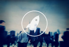 Miglioramento Startup Rocket Concept dell'innovazione del lancio Fotografie Stock