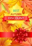Migliore Autumn Discount Promo Poster con l'arco di lusso Immagine Stock Libera da Diritti