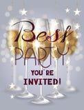 Migliore carta dell'invito del partito con i vetri di champagne e delle ghirlande Immagini Stock