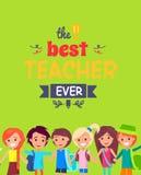 Migliore cartolina di Ever Colorful Congratulation dell'insegnante Fotografie Stock Libere da Diritti