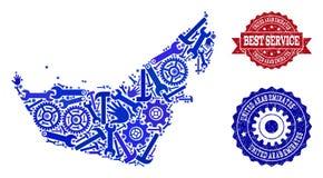 Migliore collage di servizio della mappa degli Emirati Arabi Uniti e dei bolli di lerciume royalty illustrazione gratis