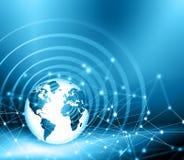 Migliore concetto del Internet del commercio globale Globo, linee d'ardore su fondo tecnologico Elettronica, Wi-Fi, raggi Fotografie Stock