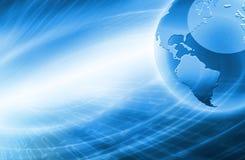 Migliore concetto del Internet del commercio globale Globo, linee d'ardore su fondo tecnologico Elettronica, Wi-Fi, raggi Fotografia Stock Libera da Diritti