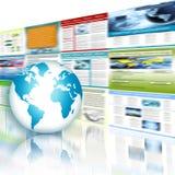 Migliore concetto del Internet del commercio globale Globo, linee d'ardore su fondo tecnologico Elettronica, Wi-Fi, raggi Immagine Stock Libera da Diritti