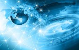 Migliore concetto del Internet del commercio globale Globo, linee d'ardore su fondo tecnologico Wi-Fi, raggi, simboli Immagini Stock