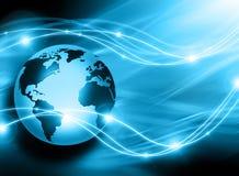 Migliore concetto del Internet del commercio globale Globo, linee d'ardore su fondo tecnologico Wi-Fi, raggi, simboli Fotografia Stock