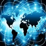 Migliore concetto del Internet del commercio globale Globo, linee d'ardore su fondo tecnologico Wi-Fi, raggi, simboli Fotografie Stock