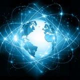 Migliore concetto del Internet del commercio globale Globo, linee d'ardore su fondo tecnologico Wi-Fi, raggi, simboli Immagine Stock Libera da Diritti