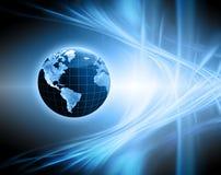 Migliore concetto del Internet del commercio globale Globo, linee d'ardore su fondo tecnologico Wi-Fi, raggi, simboli Fotografia Stock Libera da Diritti