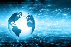 Migliore concetto del Internet del commercio globale Globo, linee d'ardore su fondo tecnologico Wi-Fi, raggi, simboli Immagini Stock Libere da Diritti