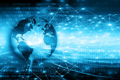 Migliore concetto del Internet del commercio globale Globo, linee d'ardore su fondo tecnologico Wi-Fi, raggi, simboli Fotografie Stock Libere da Diritti