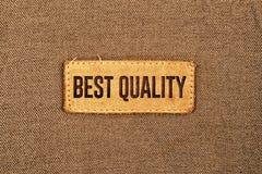 Migliore etichetta dell'etichetta del cuoio di qualità Fotografia Stock Libera da Diritti