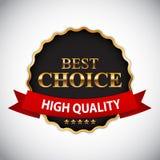 Migliore etichetta dorata Choice con l'illustrazione di vettore del nastro Fotografia Stock
