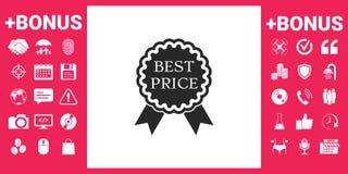 Migliore icona dell'etichetta di prezzi con i nastri Immagini Stock Libere da Diritti