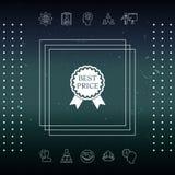 Migliore icona dell'etichetta di prezzi con i nastri Immagine Stock