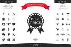 Migliore icona dell'etichetta di prezzi con i nastri Fotografia Stock