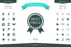 Migliore icona dell'etichetta di prezzi con i nastri Fotografia Stock Libera da Diritti